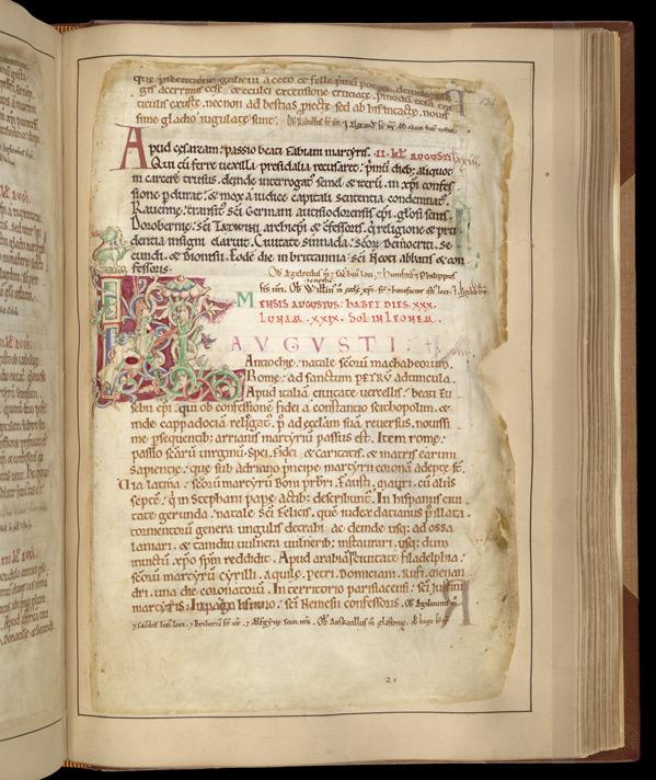 Historiated Initial With Leo, In The Martyrology Of St. Augustine's, Canterbury